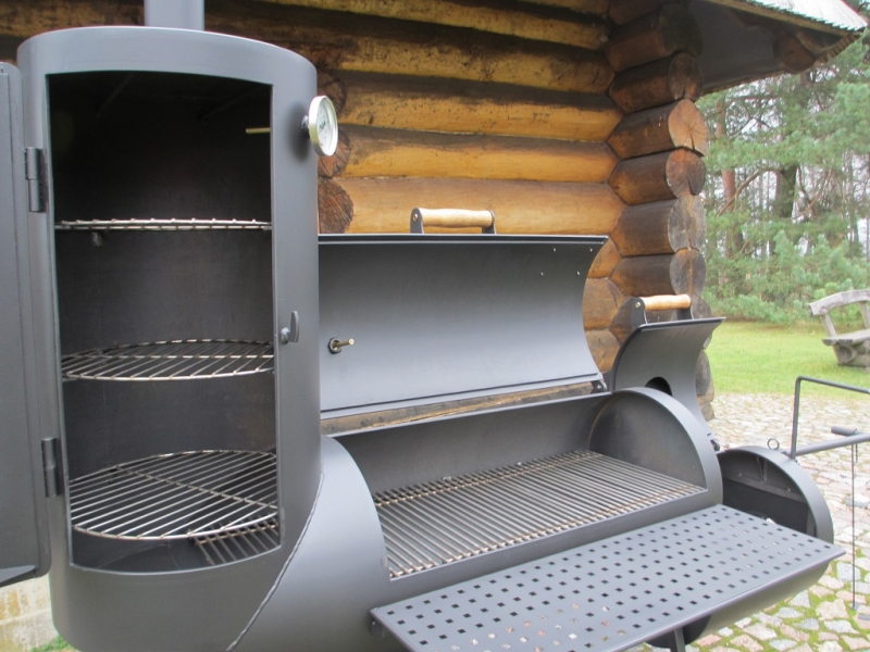 grill smoker 16 long kombi mit r ucherturm 6 2 mm. Black Bedroom Furniture Sets. Home Design Ideas